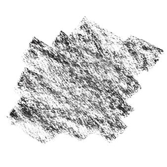 Macchia strutturata carbone nero su carta isolata su sfondo bianco