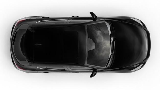 Design creativo di auto da città nera nel rendering 3d