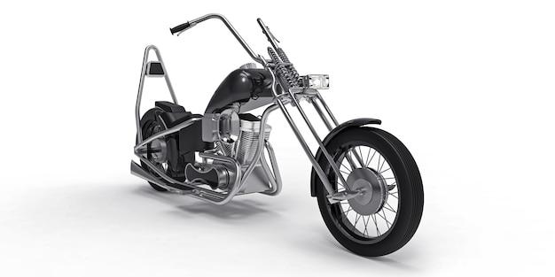 Moto custom classica nera isolata su superficie bianca
