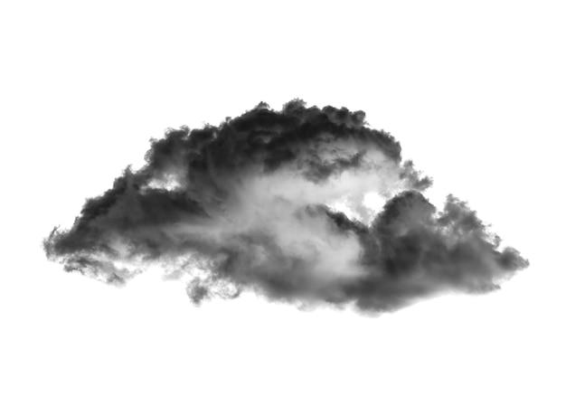 Nuvola nera isolata su sfondo bianco