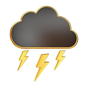 Nuvola nera con illustrazione dorata del fulmine isolata su white