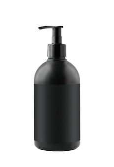 Contenitore cosmetico nero con pompa isolata su superficie bianca