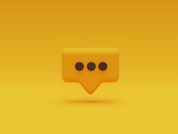 Illustrazione del punto nero all'interno del fumetto giallo su sfondo giallo per sms di chat e messaggio di commento tramite rendering 3d.