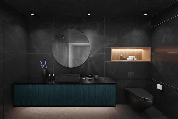Design elegante nero dell'interno del bagno moderno. rendering 3d