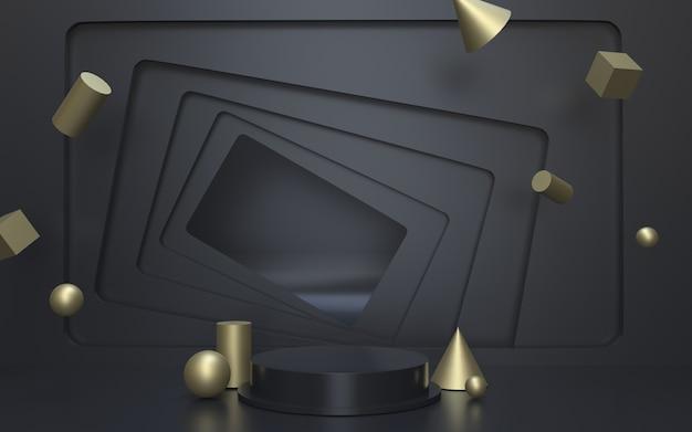 Palco podio vuoto nero per l'esposizione del prodotto con sfondo geometrico dorato