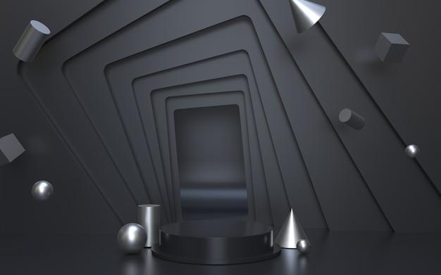 Palco podio vuoto nero per l'esposizione del prodotto con sfondo di oggetti geometrici d'argento
