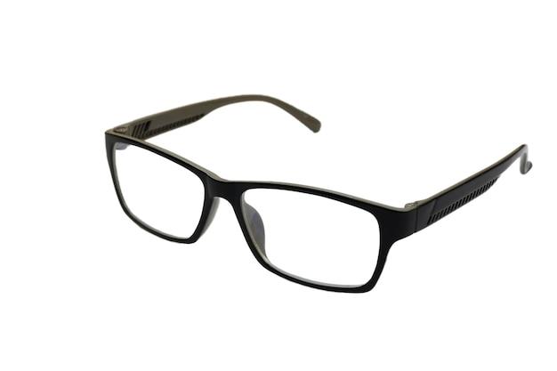 Gli occhiali da vista neri isolati wallon superficie bianca.