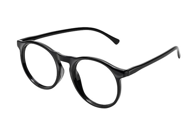 Occhiali da vista neri su bianco con tracciato di ritaglio
