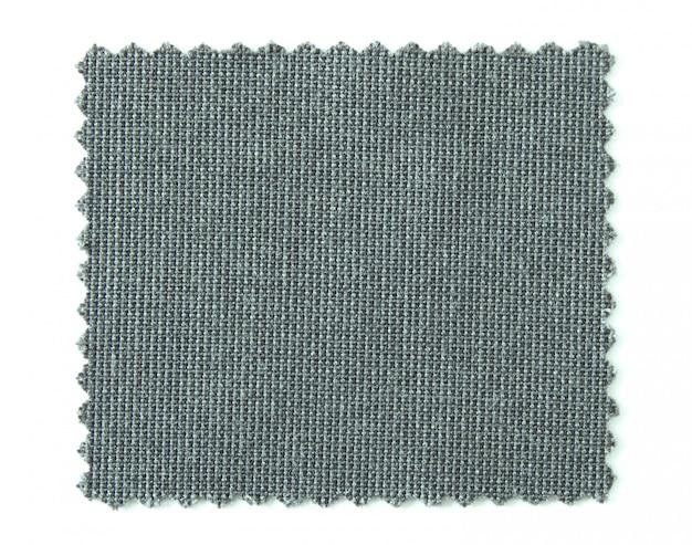 Campioni di campione di tessuto nero isolato su sfondo bianco