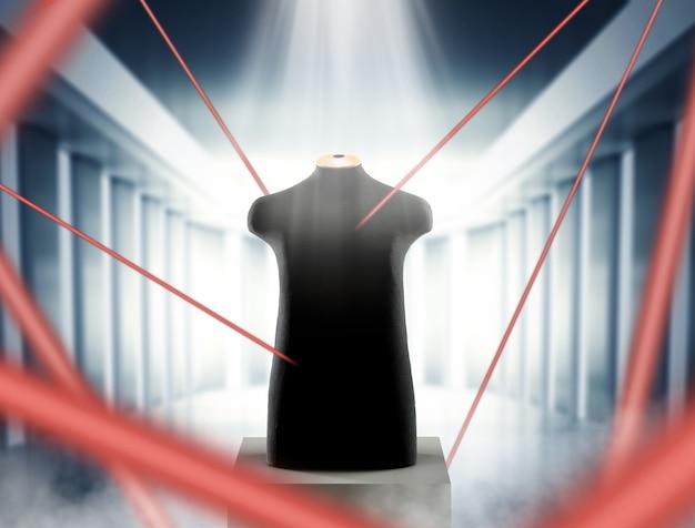 Manichino donna nero sul tavolo nella stanza con raggi laser rossi del sistema di sicurezza