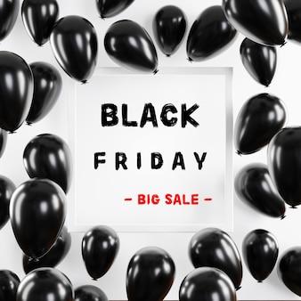 Volantino di palloncini dorati lucidi di concetto di grande vendita del black friday con rendering 3d di cornice quadrata bianca