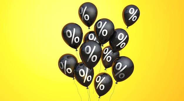 Black friday palloncini neri con un simbolo di percentuale su sfondo giallo copia spazio 3d rendering