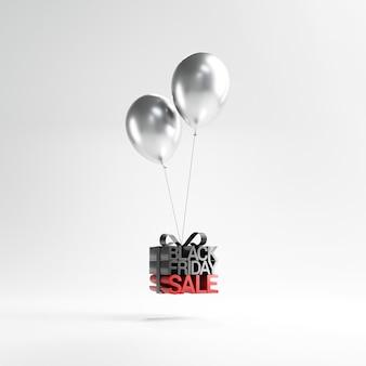 Venerdì nero in confezione regalo avvolto con palloncino.