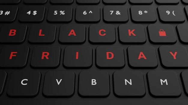 Tasto venerdì nero sulla tastiera nera