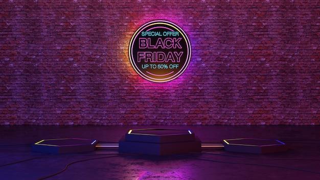 Venerdì nero podio di bagliore di luce al neon sul fondo del muro di mattoni. rendering 3d