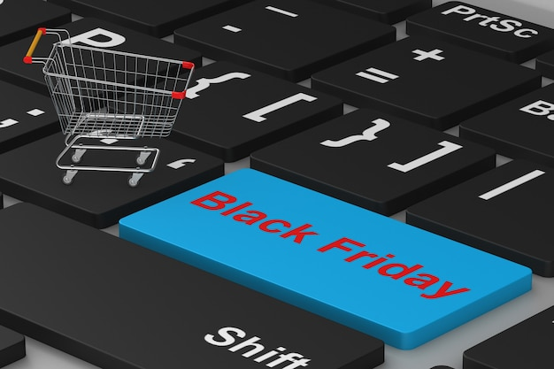 Venerdì nero. acquisti online. illustrazione 3d