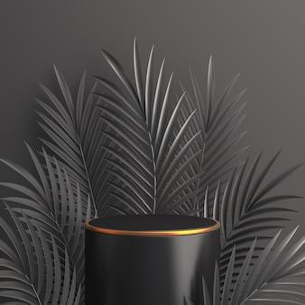 Mockup di decorazione del podio del black friday con foglie di palma, rendering 3d
