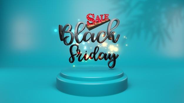 Black friday sul podio. presentazione del prodotto, pubblicità, rendering 3d