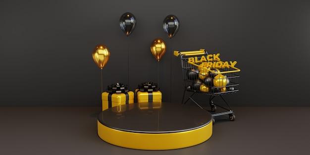 Modello del podio del black friday con palloncino 3d e carrello. psd premium