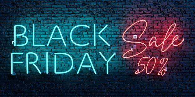 Black friday sale 50 percento insegna al neon