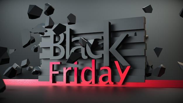 Banner di vendita del black friday con formulazione 3d