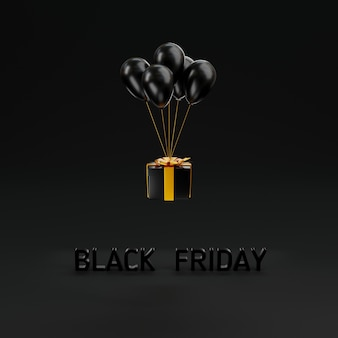 Concetto di vendita del black friday confezione regalo chiudere il coperchio e palloncini volanti 3d rendering illustrazione
