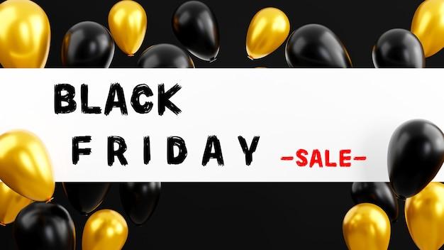 Illustrazione di rendering 3d dell'aletta di filatoio di palloncini dorati lucidi di concetto di vendita del black friday