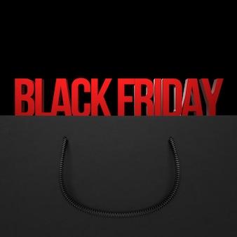 Concetto di vendita del black friday per negozio. borsa della spesa isolata su sfondo scuro