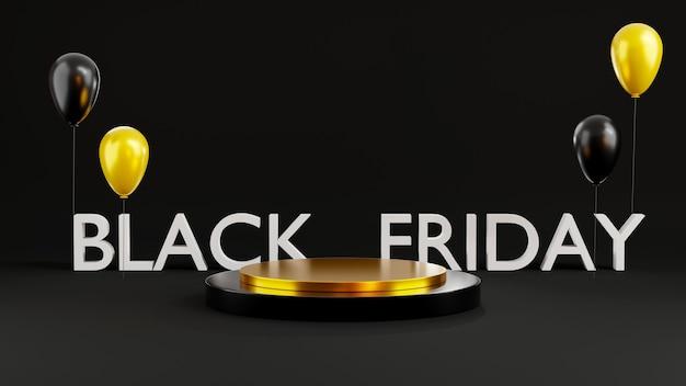 Esposizione cilindrica del podio di vendita del black friday e illustrazione di rendering 3d di palloncini neri lucidi