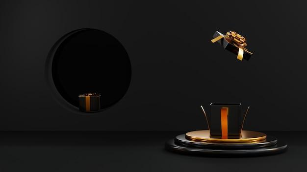 Vendita del black friday espositore cilindrico da podio e scatole regalo con fiocco in nastro dorato rendering 3d