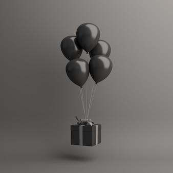 Sfondo di decorazione di vendita del black friday con confezione regalo di palloncino volante