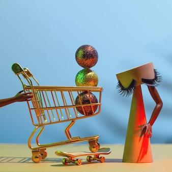 Vendita del black friday - futuristico concetto di shopping natalizio, tempo facendo shopping.