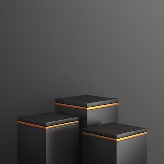 Mockup del podio di vendita del black friday, rendering 3d