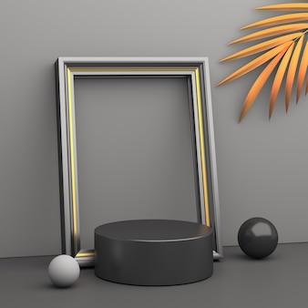 Fondo della decorazione del mockup del podio di vendita del black friday con telaio, rendering 3d