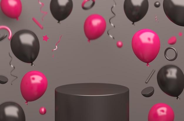Fondo della decorazione del mockup del podio di vendita del black friday con palloncino volante rosa, rendering 3d