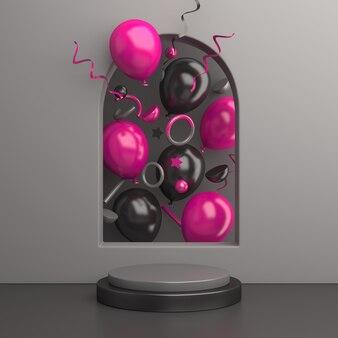 Mockup di podio di vendita del black friday con ballon rosa, rendering 3d