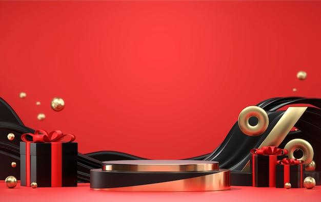 Il prodotto del podio della fase del venerdì nero mostra il rendering 3d commerciale