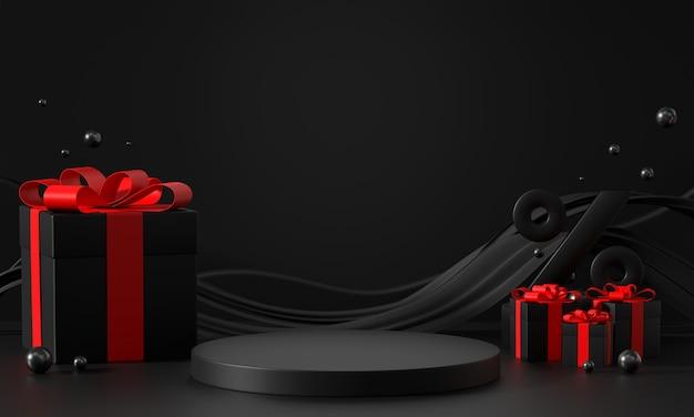 Esposizione del prodotto del podio della fase del venerdì nero con rendering 3d commerciale di scatole regalo