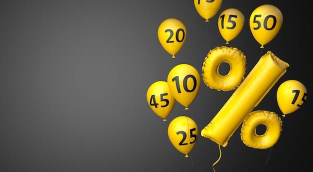 Black friday palloncini gialli con un simbolo di percentuale su sfondo nero copia spazio 3d render