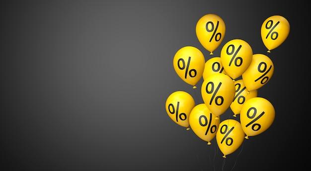 Black friday palloncini gialli con un simbolo di percentuale su sfondo nero copia spazio 3d rendering