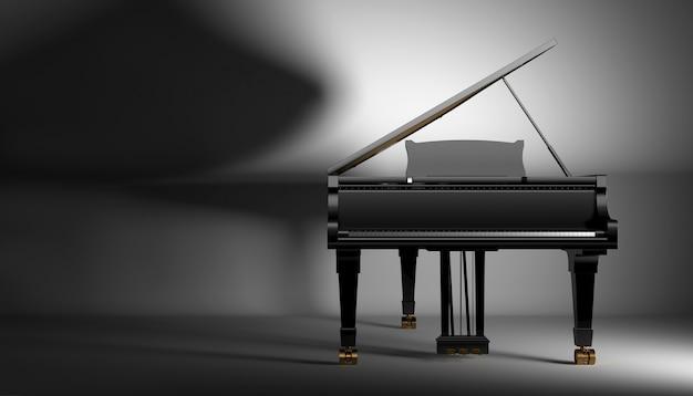Pianoforte gard nero su uno sfondo scuro, 3d'illustrazione