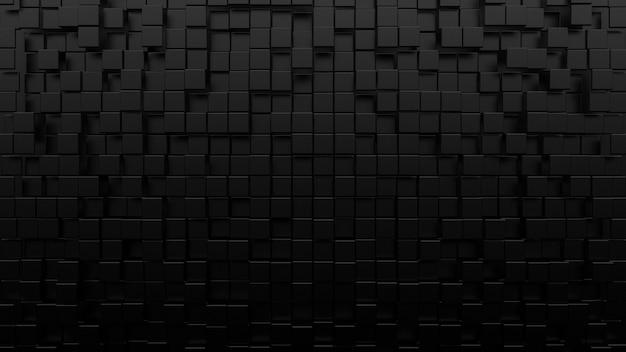 Composizione di mattoni e cubi di forma geometrica nera