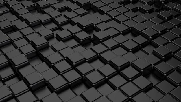 Composizione generata da mattoni e cubi di forma geometrica nera