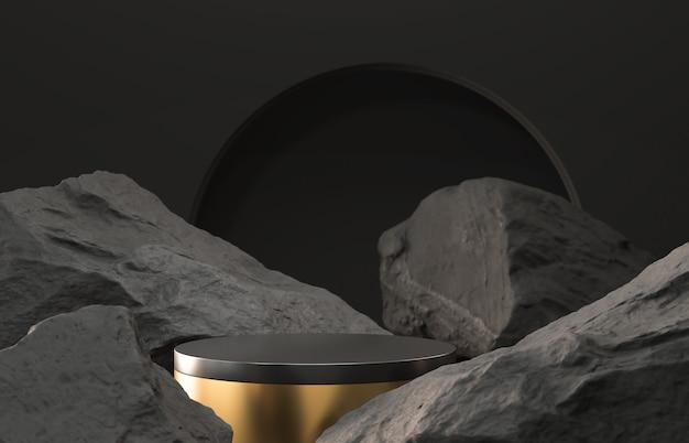 Sfondo geometrico nero a forma di pietra e roccia, mockup minimalista per esposizione sul podio o vetrina, rendering 3d.