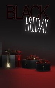 Scatole regalo nere con fiocchi d'oro su sfondo nero insegna al neon venerdì nero 3d render