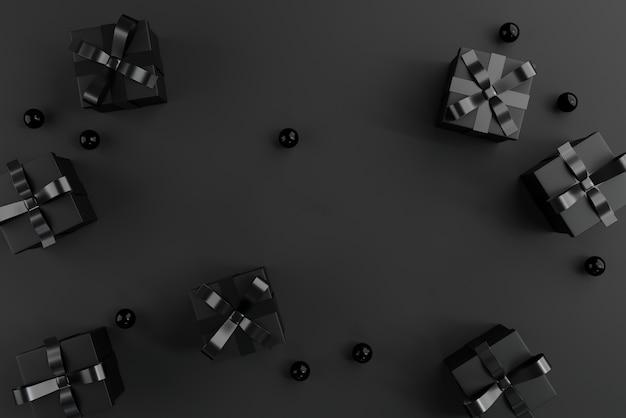 Contenitori di regali neri sul nero.