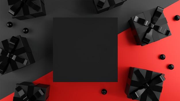 Contenitori di regali neri con spazio in bianco.