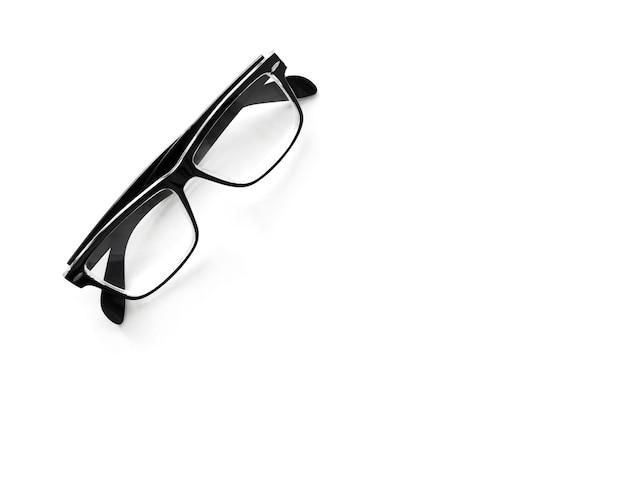 Occhiali neri isolati su sfondo bianco