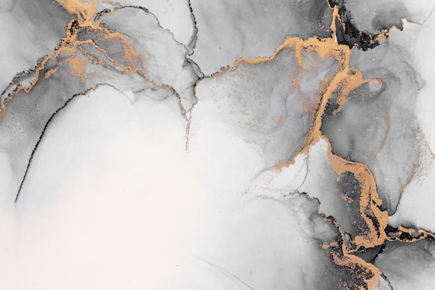 Fondo astratto dell'oro nero della pittura di arte dell'inchiostro liquido di marmo su carta.