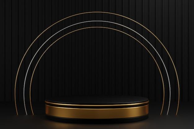 Podio cilindro in oro nero e anello in argento dorato su sfondo a strisce grigio scuro.
